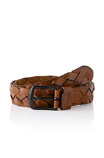 Leather belt with metal buckle 'Jonnio'