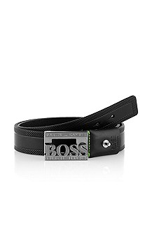 Leather belt with metal buckle 'Taymer-N'