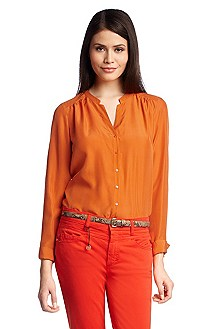 Collarless silk blouse 'Rosalia'