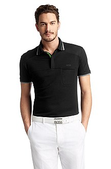 Cotton blend, slim fit polo shirt 'Pagno'