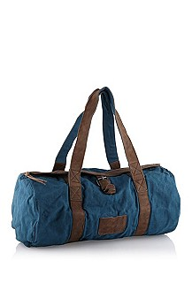 Linen weekender with leather details 'Ferdis'