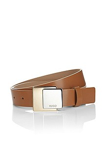 Leather belt with plaque buckle 'Lamira'
