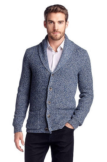 Linen blend cardigan 'Gerd', Bright Blue