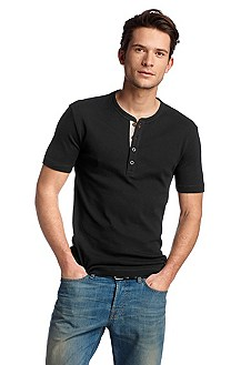 T-shirt with a button placket neckline 'Trust'