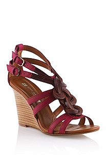 Wedge heel sandal in cowhide leather 'Karolyn'