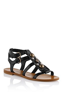 Calfskin and cowhide leather sandal 'Syndie'