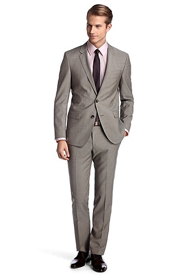 Suit in pure new wool 'Huge1/Genius1', Beige