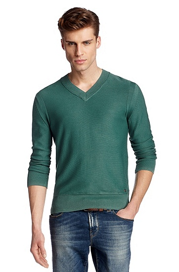 Knitted sweater in a vintage look 'Kesko', Dark Green