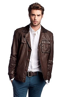 Leather jacket in genuine goatskin leather 'Jomp