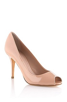 Open toe court shoe in shiny leather 'Vanila'