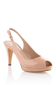 Peep toe in patent calfskin leather 'Edine-V'
