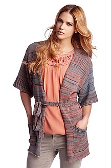 Wrap-over jacket in mixed knit pattern 'Watiana'