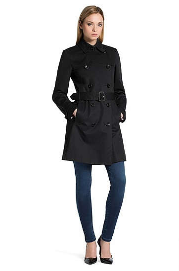 Cotton trench coat 'Mihala-1', Black