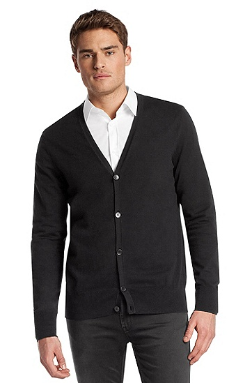 Blended cotton cardigan 'Sidorco', Black