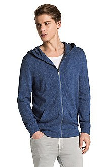 Cotton sweatshirt jacket with hood from HUGO