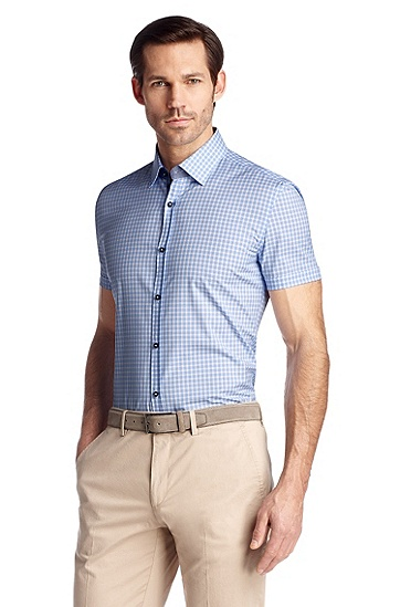 Short-sleeved, checked business shirt 'Juris', Open Blue