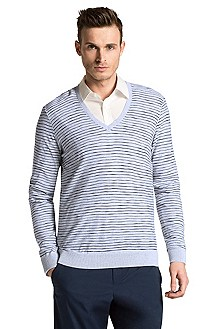 Pull-over en V en coton, Stripy