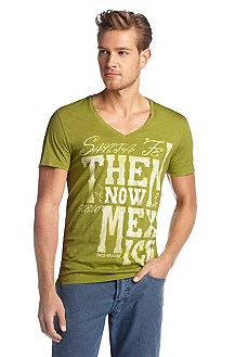 V-neck T-shirt 'Think 1'