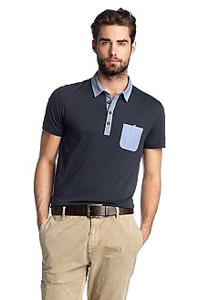 Poloshirt ´Patchaman` mit Button-down-Kragen