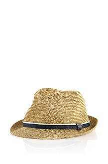 Straw hat with contrast stripes 'Sefar'