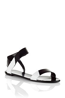 Calfskin and cowhide leather sandal 'Liza'