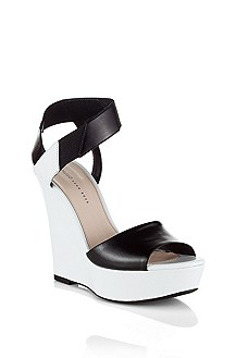 Leather wedge heel sandal 'Leticia'