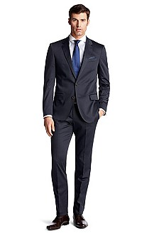 Slim fit suit in blended cotton 'Huge2/Genius1'