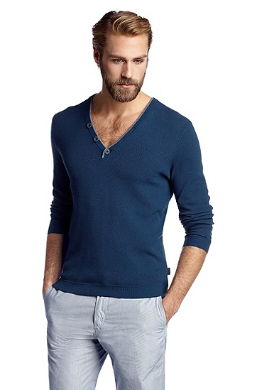Slim-Fit V-neck sweater 'Frank', Bright Blue