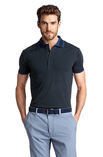 Slim fit polo shirt in blended cotton 'Pagno'