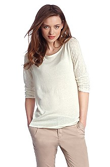 Linen sweater with linen 'Itaka'