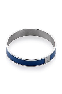 Closed bangle made of stainless steel and enamel