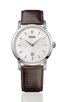 Designer watch with leather strap 'HB1013'