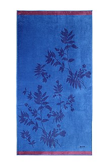 Cotton beach towel 'COBALT LEAVES'