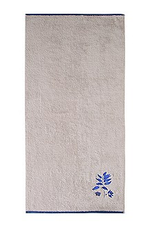 Towel with floral embroidery 'COBALT LEAVES'
