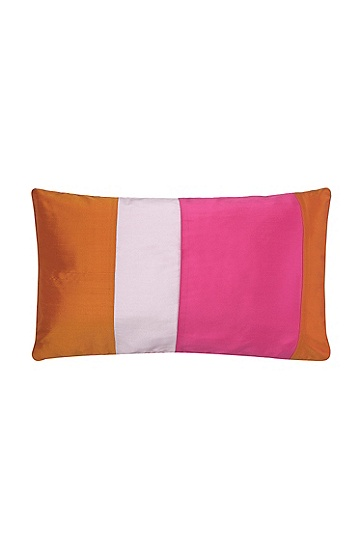 Pure silk cushion cover 'PATCH', Pink