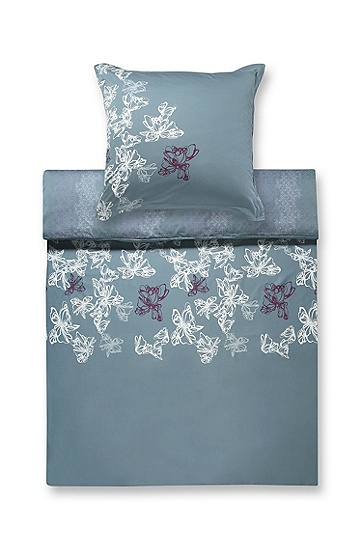 Duvet cover 'PEONY' with filigreed pattern, Grey