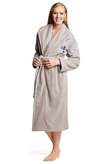 Bathrobe with a lapel collar 'COBALT LEAVES'