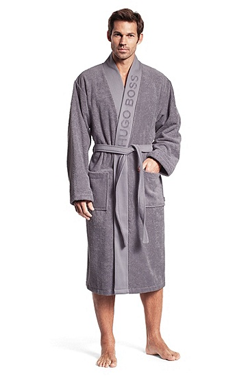 Bathrobe with a wide trim 'PLAIN', Dark Grey